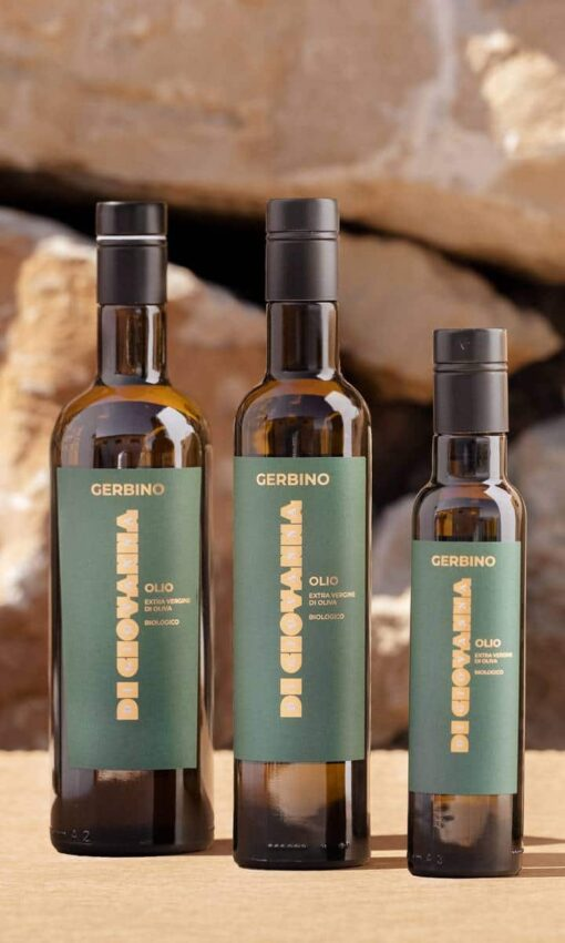 Gerbino Olio Extra Vergine di Oliva biologico bottiglie da 750 ml, 500 ml, 250 ml