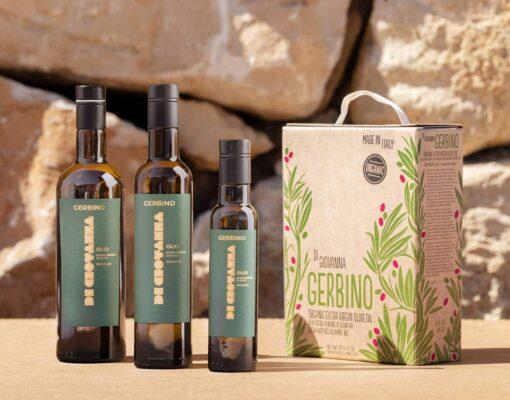 Gerbino Organic Extra Virgin Olive Oil 750 ml, 500 ml, 250 ml bottles, 3 Liter Bag in Box