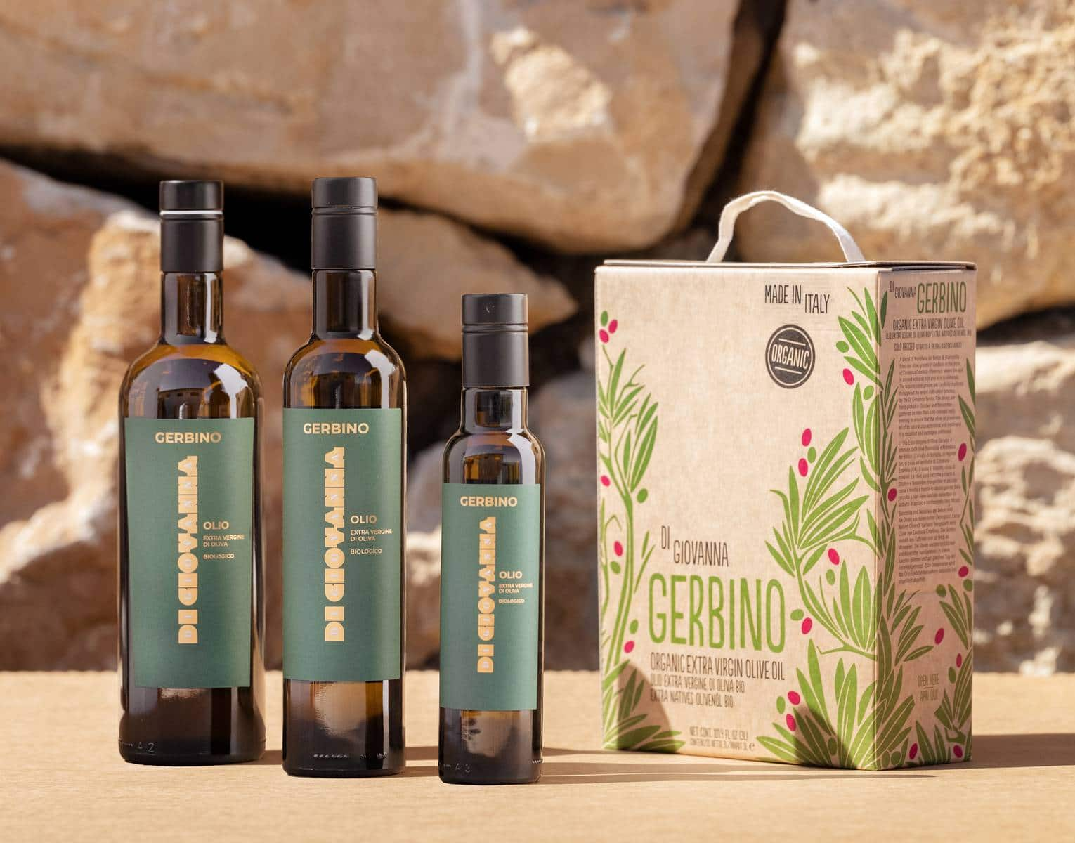 Gerbino Organic Extra Virgin Olive Oil 750 ml, 500 ml, 250 ml bottles, 3 Liter Bag in Box